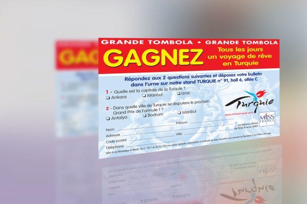 flyer tombola office de tourisme de Turquie