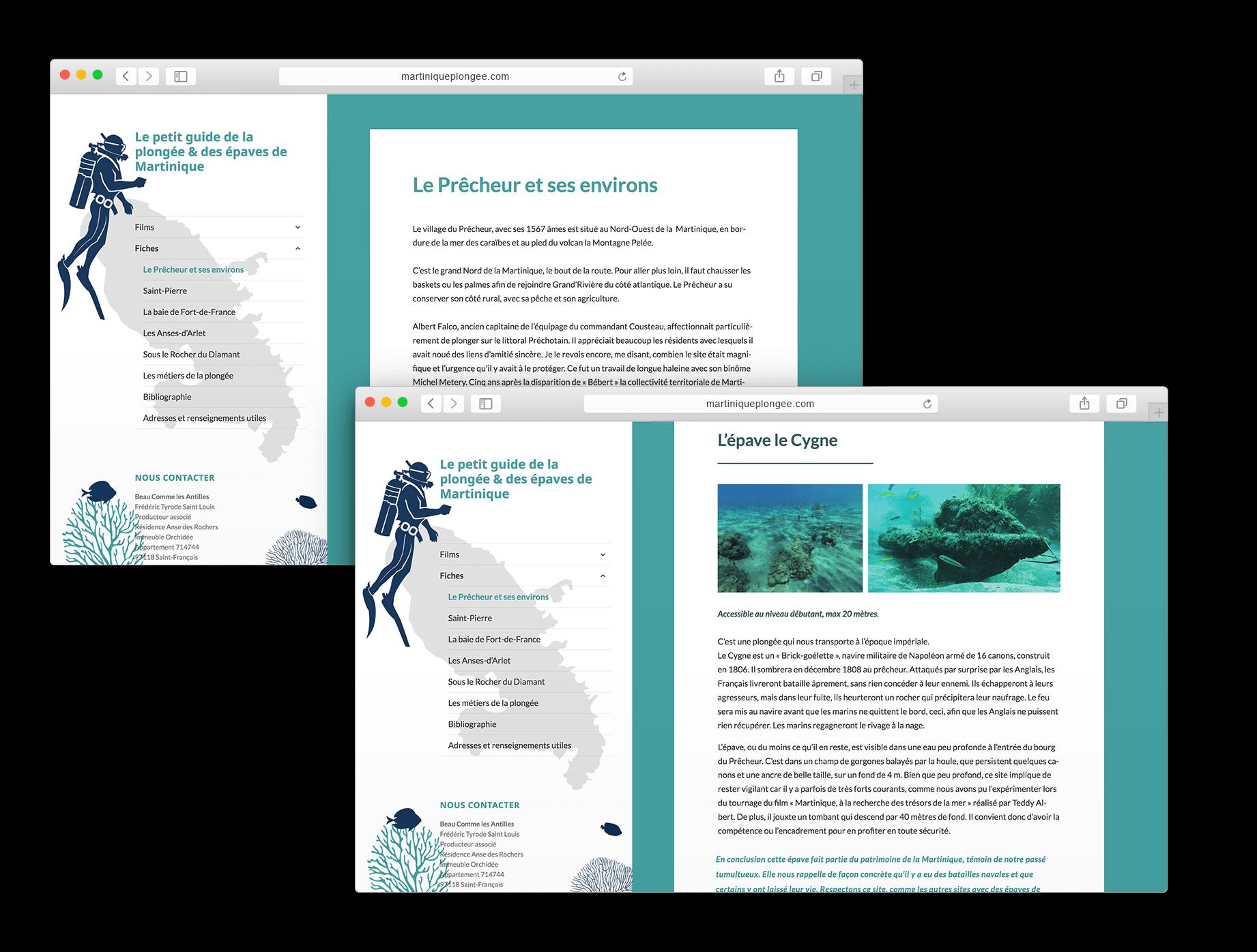 Site internet Martinique Plongée